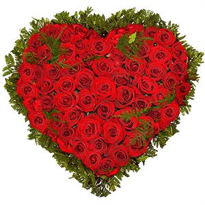 Композиции на 14 февраля - Сердце из роз